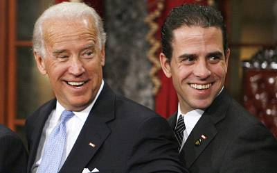 Joeand Hunter Biden in the Old Senate Chamber on Capitol Hill on  Jan. 6, 2009.
