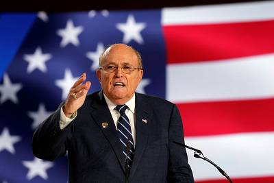 Rudy Giuliani speaks at an event in Ashraf-3 camp in Manza, Albania, on July 13, 2019.