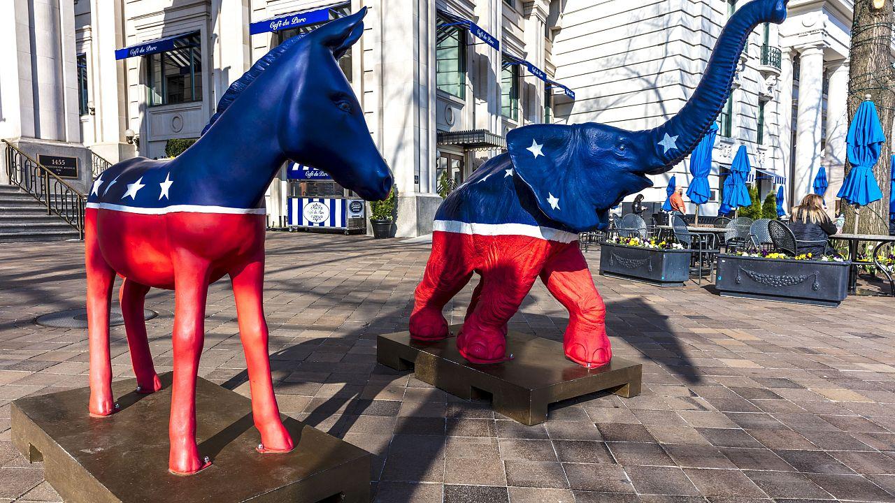 WASHINGTON DC, Democratic Mule and Republican Elephant statues symbolize Am