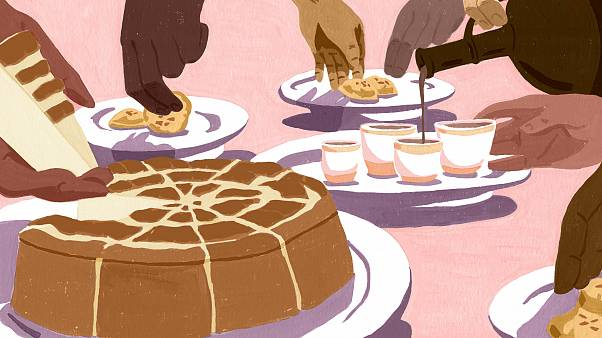 Illustration of tea being poured into teacups, while people eat together.