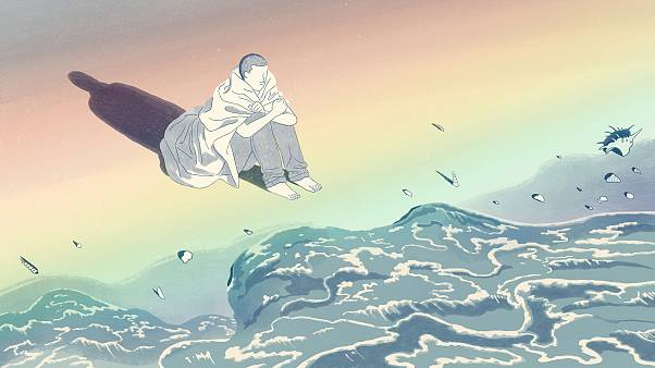 Illustration of man sitting on the ocean's edge with a rainbow projected on