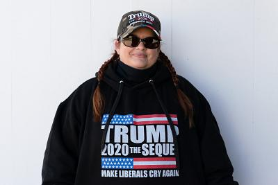 Jenny Foster of Buxton, Maine, a Republican and supporter of Donald Trump, at the Fryeburg Fair.