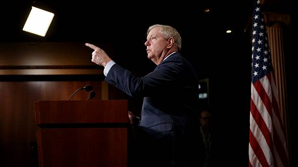 Image: Sen. Lindsey Graham, R-S.C., takes questions during a press conferen
