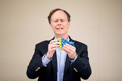 William G. Kaelin Jr. was one of the recipients of the 2019 Nobel Prize for Physiology or Medicine. Kaelin holds a 3D protein model at the Dana-Farber Cancer Institute in Boston on Oct. 7, 2019.