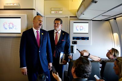 U.S. Ambassador to the EU Gordon Sondland, left, and European Commission Vice President Maros Sefcovic talk to reporters aboard Air Force One on May 14, 2019, in Louisiana.