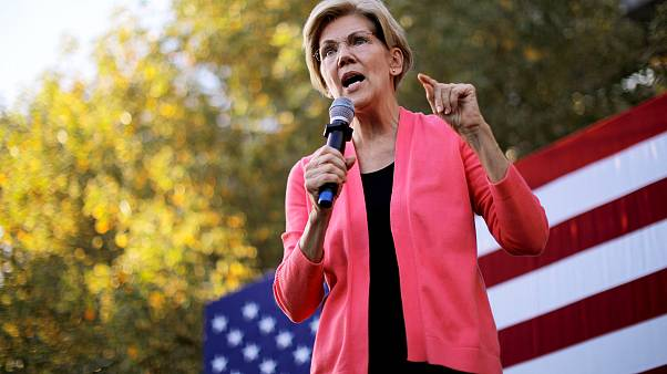 Image: Sen. Elizabeth Warren, D-Mass., speaks at a campaign rally in Keene,