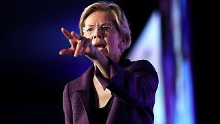 Image: Sen. Elizabeth Warren, D-Mass., speaks at the SEIU Unions for All Su