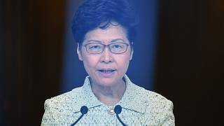 Image: Hong Kong Chief Executive Carrie Lam takes part in her weekly press