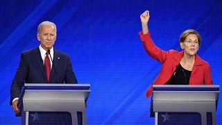 Democratic presidential hopefuls former Vice President Joe Biden Sen. Eliza