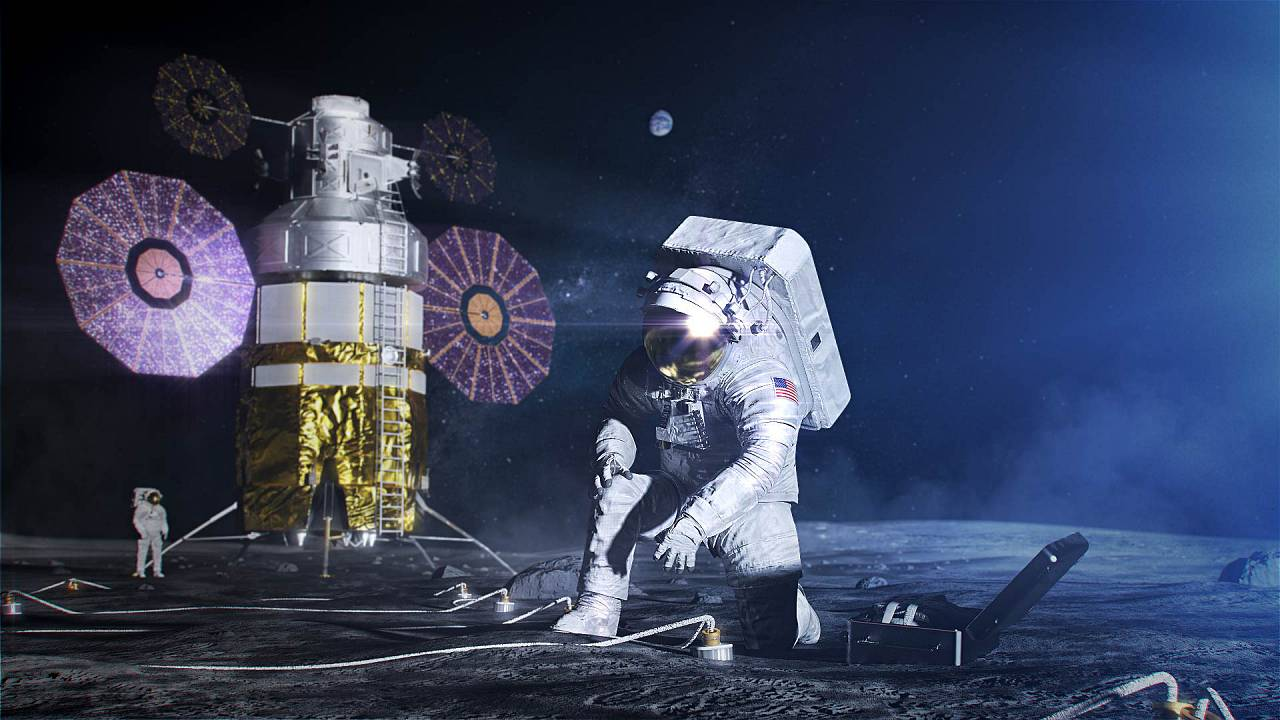 Artist concept of an astronaut in the xEMU space suit setting up a science