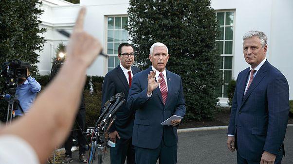 Image: Mike Pence, Steven Mnuchin, Robert O'Brien