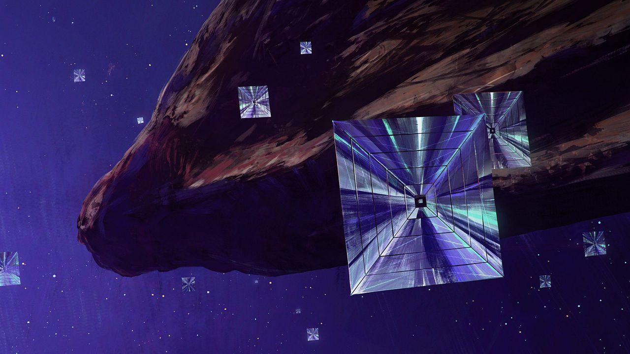 Laser sail spacecraft arriving at 'Oumuamua, the interstellar asteroid.