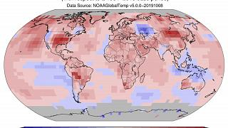 Image: A global map showing temperature deviations from the average in Sept