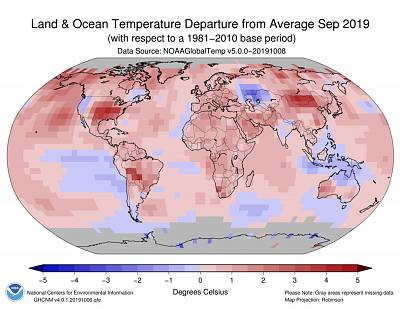 A global map showing temperature deviations from the average in September 2019.