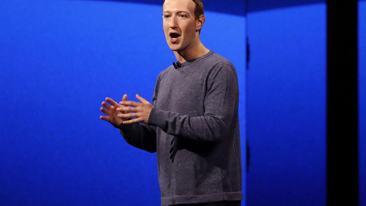Image: Facebook CEO Mark Zuckerberg makes his keynote speech during Faceboo