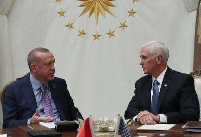 Vice President Mike Pence meeting with Turkish President Tayyip Erdogan at the Presidential Palace in Ankara on Thursday.
