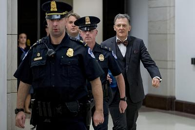 Deputy Assistant Secretary of State George Kent leaves Capitol Hill after testifying before congressional lawmakers as part of the House impeachment inquiry into President Donald Trump, on Tuesday.