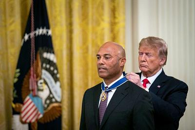 President Donald Trump presents the Medal of Freedom to former New York Yankees pitcher Mariano Rivera during a ceremony in the East Room of the White House on Sept. 16, 2019.