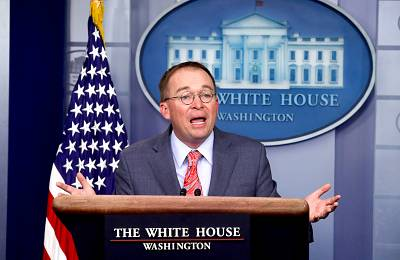 Acting White House Chief of Staff Mick Mulvaney addresses reporters during a news briefing at the White House on Oct. 17, 2019.