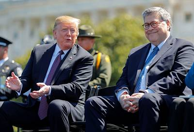 President Donald Trump and U.S. Attorney General William Barr attend the 38th Annual National Peace Officers Memorial Service on Capitol Hill on May 15, 2019.