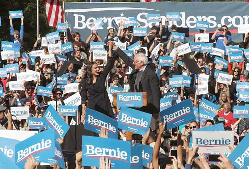 Image: Alexandria Ocasio-Cortez, Bernie Sanders