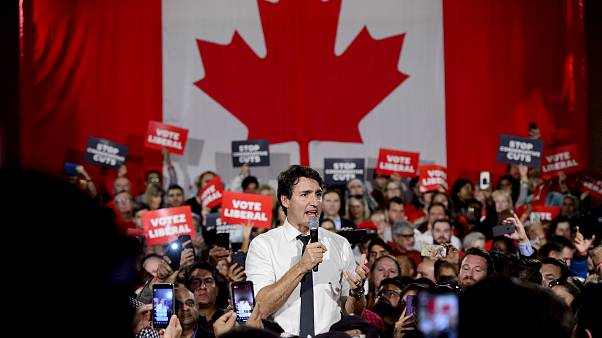 Image: Canadian Prime Minister Justin Trudeau holds a campaign rally in Ont