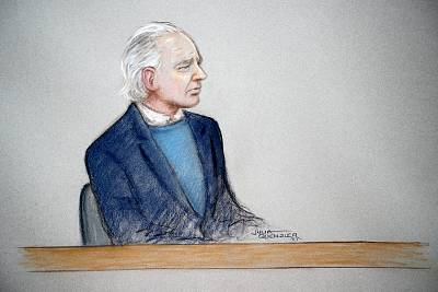 Julian Assange in a courtroom sketch during a case management hearing at Westminster Magistrates Court in London on Oct. 21, 2019.