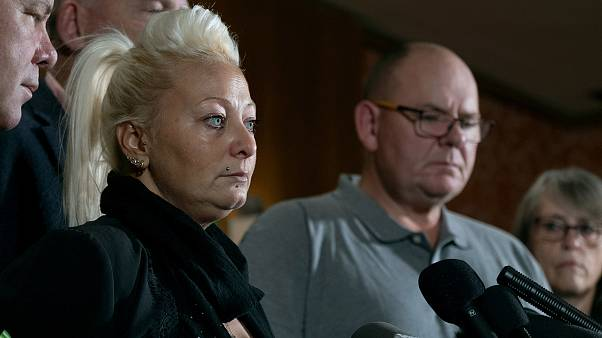 Image: Charlotte Charles, mother of Harry Dunn speaks at a news conference