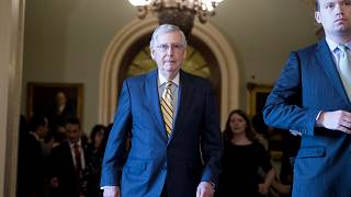 Image: Senate Majority Leader Mitch McConnell after a Senate Policy luncheo