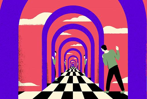 Illustration of figure peaking through portals into other worlds.