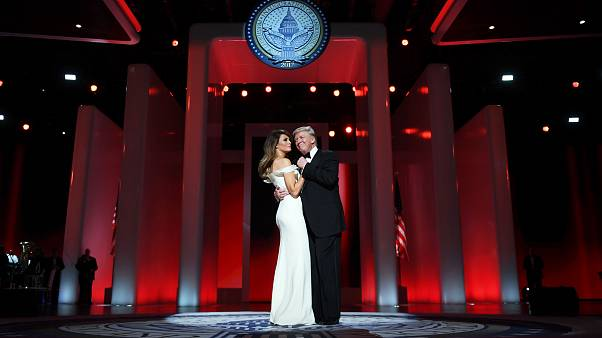 Image: President Donald Trump and the first lady Melania Trump dance at the