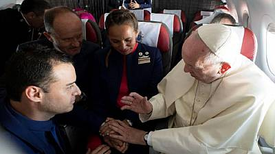 Pope joins couple in matrimony aboard a papal flight in Chile