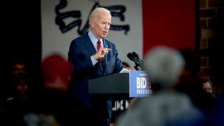 Image: Joe Biden speaks during a campaign stop in Davenport, Iowa, on Oct.