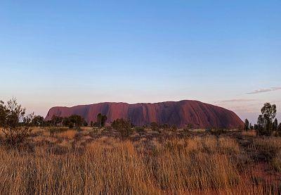 Formerly known as Ayers Rock, Uluru dominates Australia\'s arid center at Uluru-Kata Tjuta National Park.