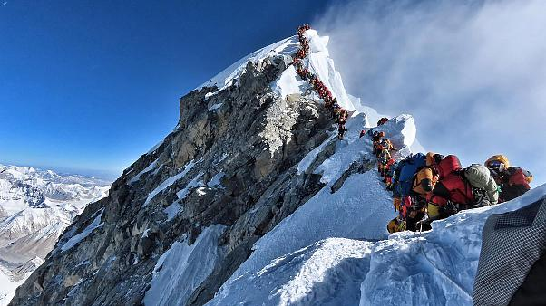 Image: Purja's photo showing heavy traffic at the summit of Mount Everest.