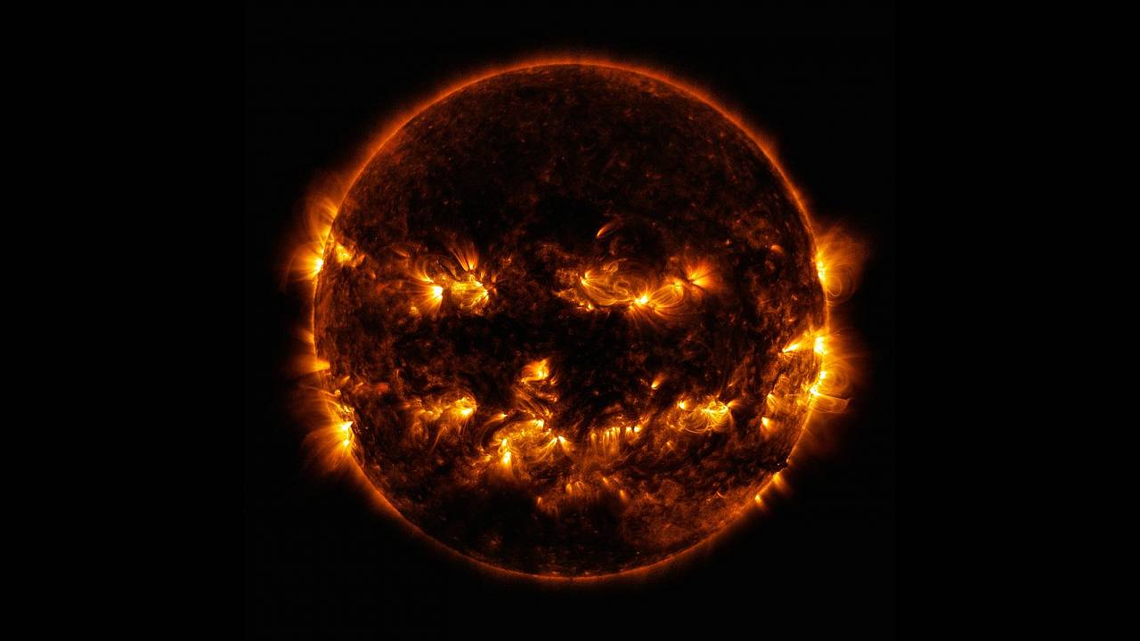 Image: On October 8, 2014, active regions on the sun gave it the appearance
