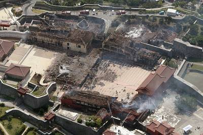 This aerial picture shows Shuri Castle after a fire ripped through the historic site in Naha, Japan\'s southern Okinawa prefecture on October 31, 2019.