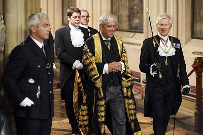 John Bercow walks with another parliamentary official, Gentleman Usher of the Black Rod, real name David Leakey, during the State Opening of Parliament in June 2017.