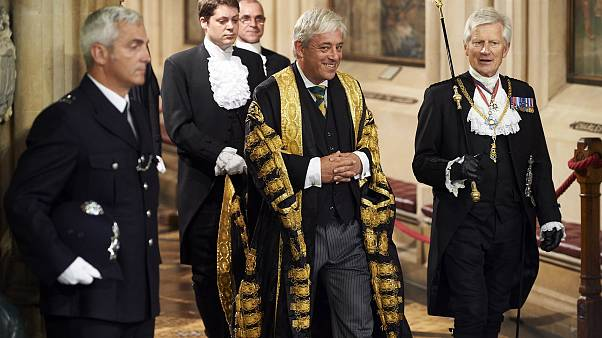 Image: John Bercow walks with another parliamentary official, Gentleman Ush
