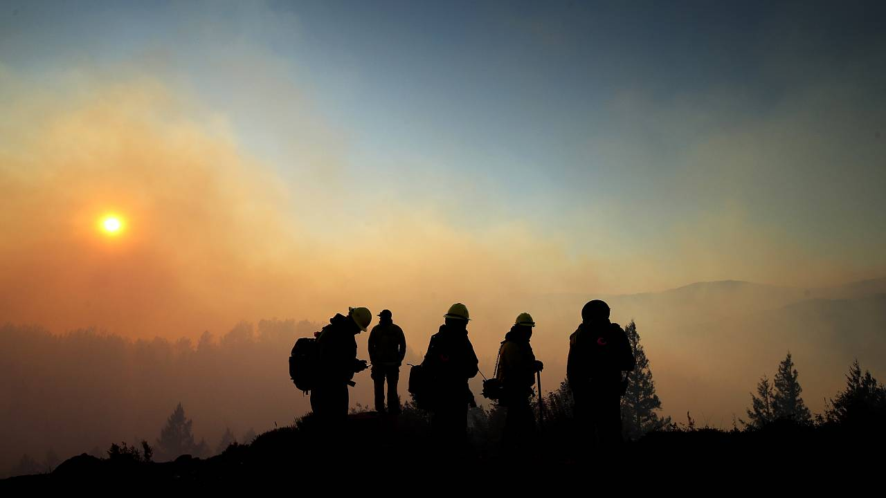 Image: Firefighters monitor the Kincade fire in Healdsburg, Calif., on Oct.