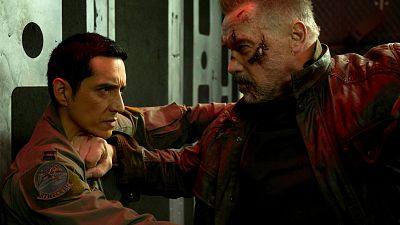 "Arnold Schwarzenegger and Gabriel Luna star in ""TERMINATOR: DARK FATE."""