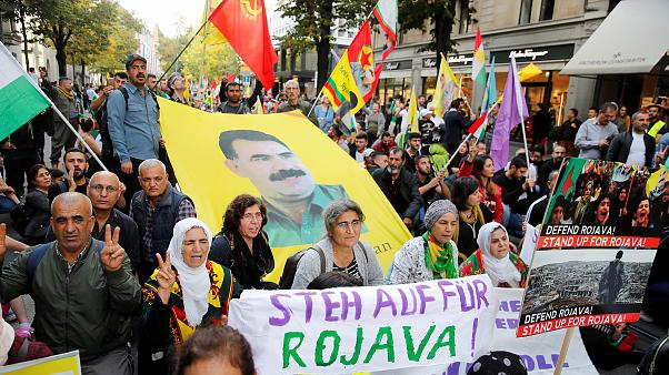 Image: Kurds demonstrate against Turkey's military action in northeastern S