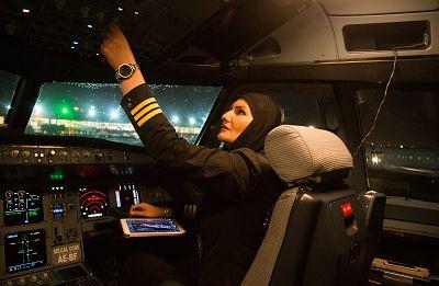 Fahimeh Ahmadi Dastjerdi checks the aircraft\'s controls after landing at Mehrabad Airport in Tehran June 1, 2017.