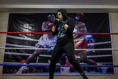 Khadem shadow boxes at her gym Jan. 4, 2017.