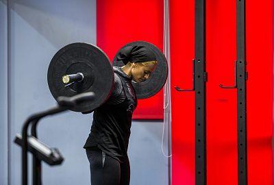Doost works out at a gym in Tehran on Nov. 30, 2018.