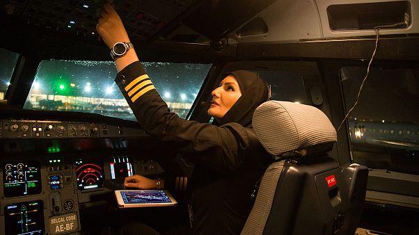 Fahimeh Ahmadi Dastjerdi checks the aircraft's controls after landing at Me