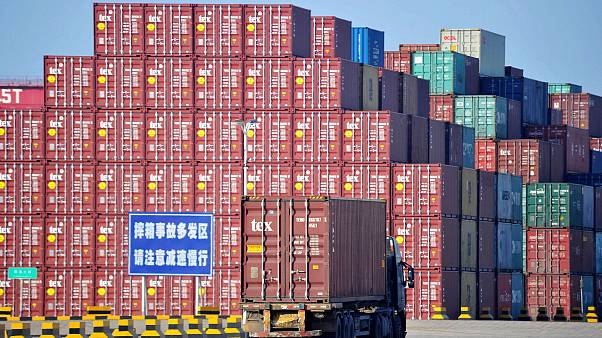 Image: Containers at the Qingdao Port Foreign Trade Container Terminal in Q