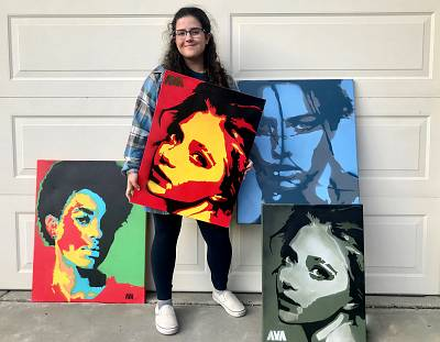 Ava Moreci, 16, a student at Napa High School in Napa, California, uses an Instagram business profile to sell her own paintings.