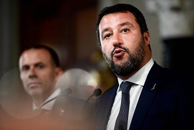Matteo Salvini addresses the media