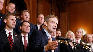Rep. Jim Jordan (R-OH) delivers remarks during a news conference with membe
